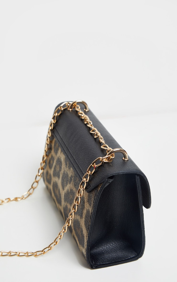 Brown Leopard Contrast Cross Body Bag 4