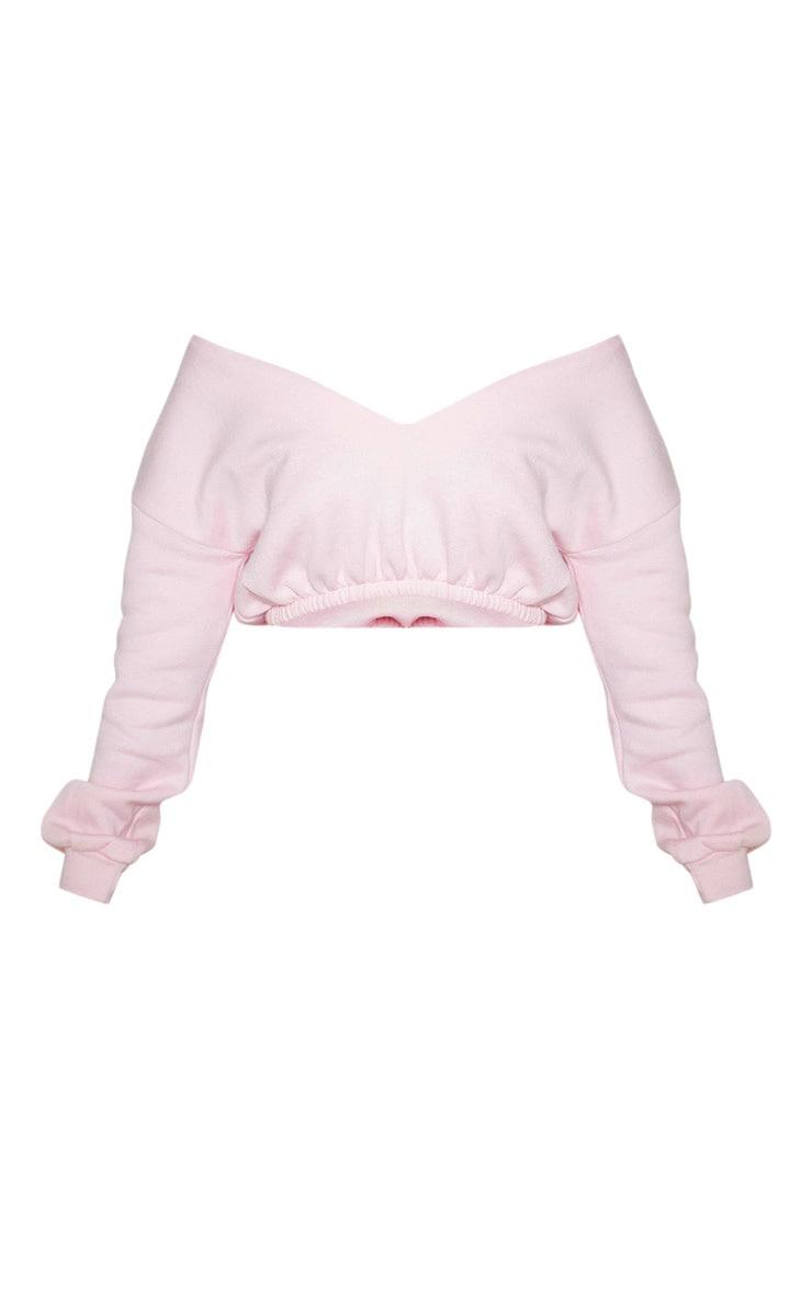 Baby Pink Crop Off Shoulder Sweater 3