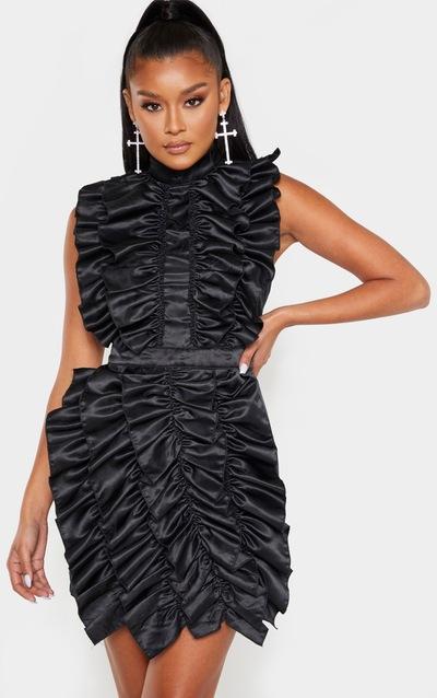 Black High Neck Ruffle Detail Satin Bodycon Dress