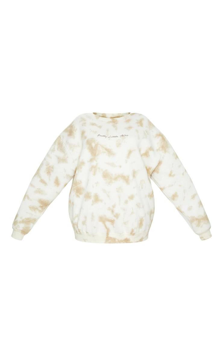 PRETTYLITTLETHING Plus Cream Tie Dye Embroidered Sweatshirt 5