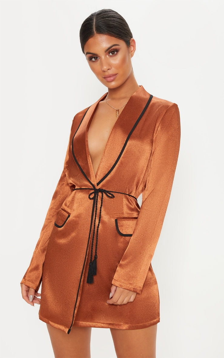 Rust Contrast Rope Detail Blazer Dress