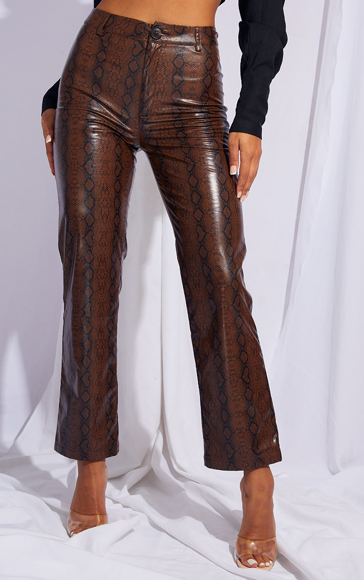 Brown Faux Leather Snake Print Cropped Straight Leg Pants 2