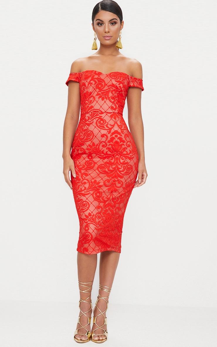 Red Lace Bardot Back Split Midi Dress
