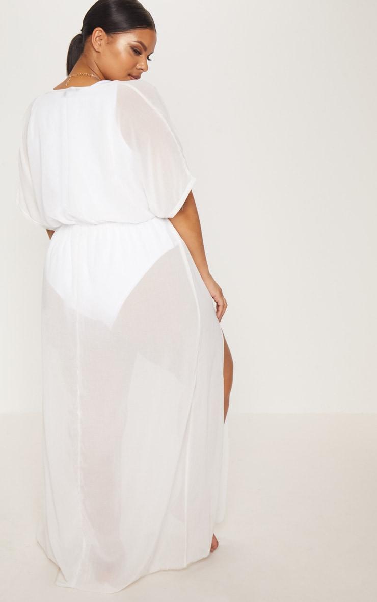 Plus White Chiffon Plunge Sheer Maxi Dress 2
