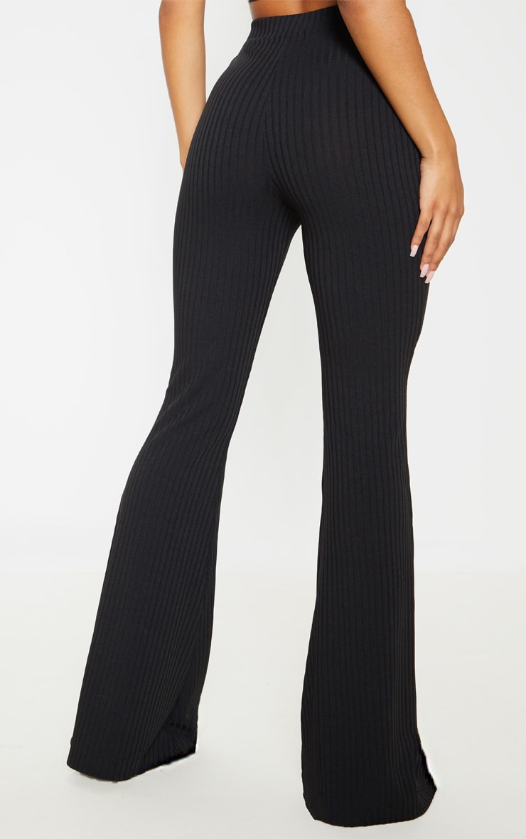 Black Rib Lace Up Detail High Waisted Flare Leg Trouser 4