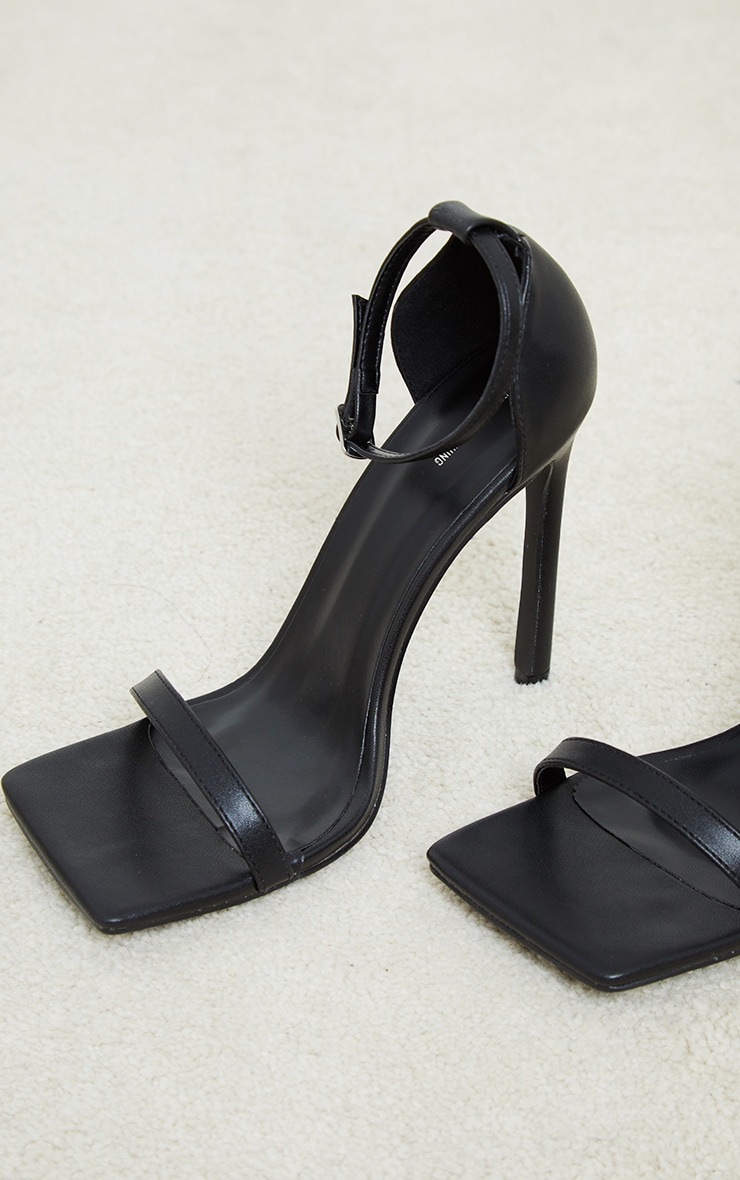 Black PU Barely There Strappy Heeled Sandals 4