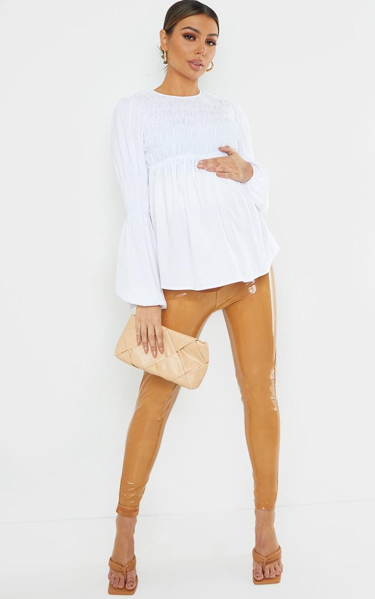 Maternity White Shirred Detail Blouse 3