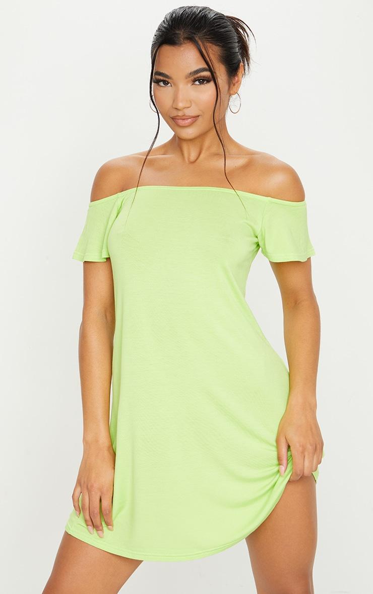 Lime Jersey Bardot Shift Dress 1