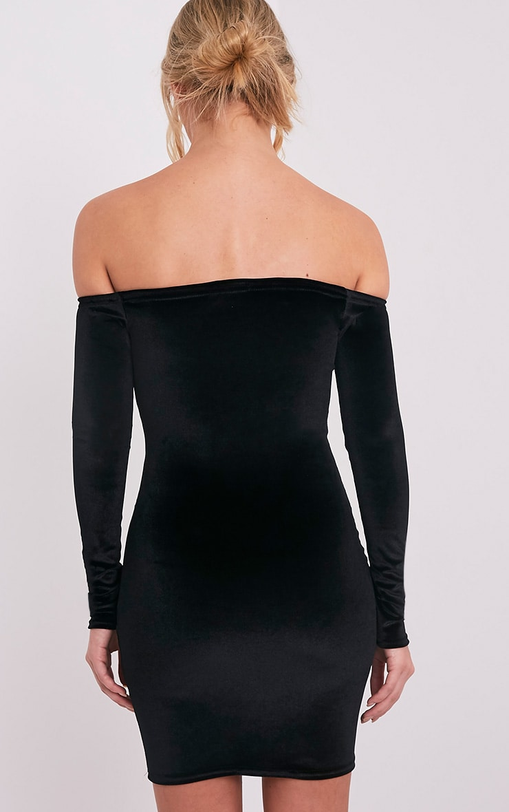 Fiah Black Velvet Bardot Bodycon Dress 2