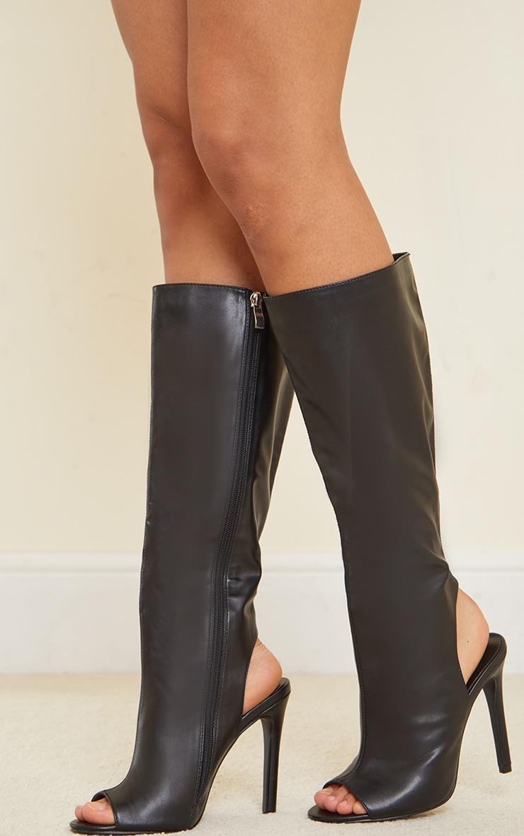 Black Pu Cut Out Knee High Heeled Boots 1