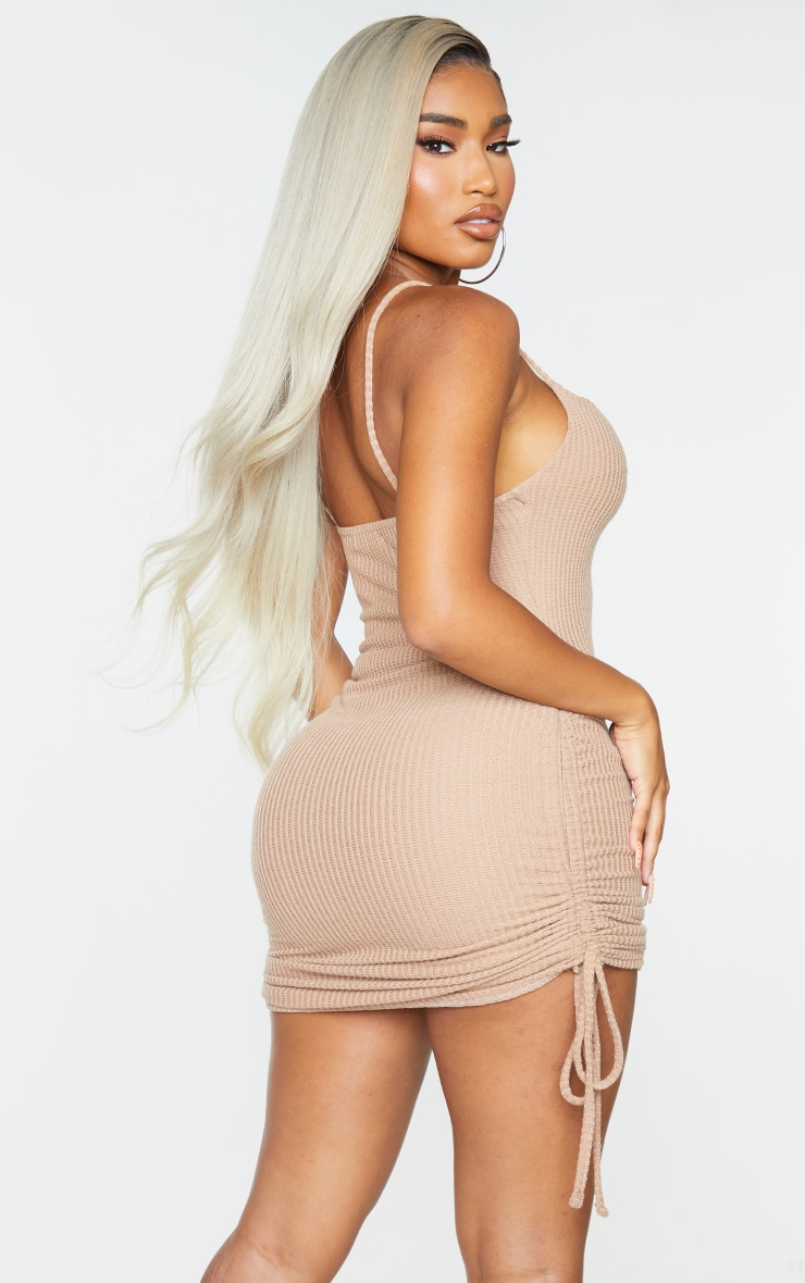 Shape Soft Brown Textured Ruched Side Bodycon Dress 2