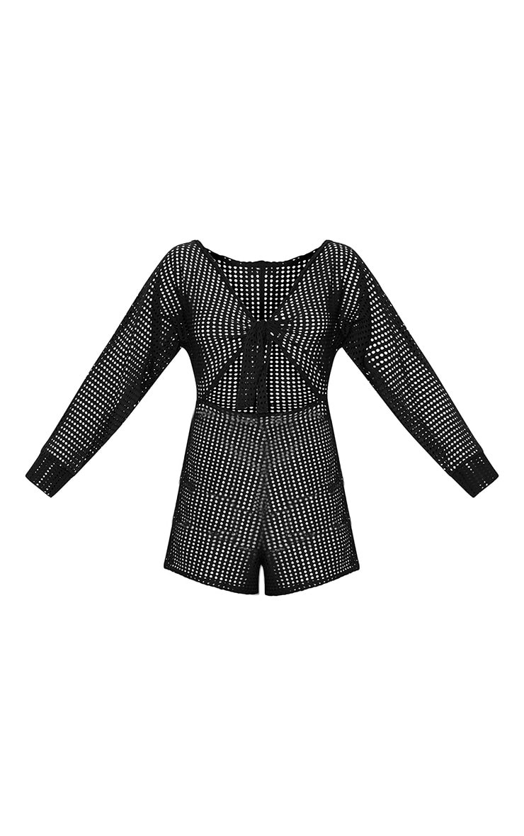 Black Large Fishnet Tie Front Playsuit 3