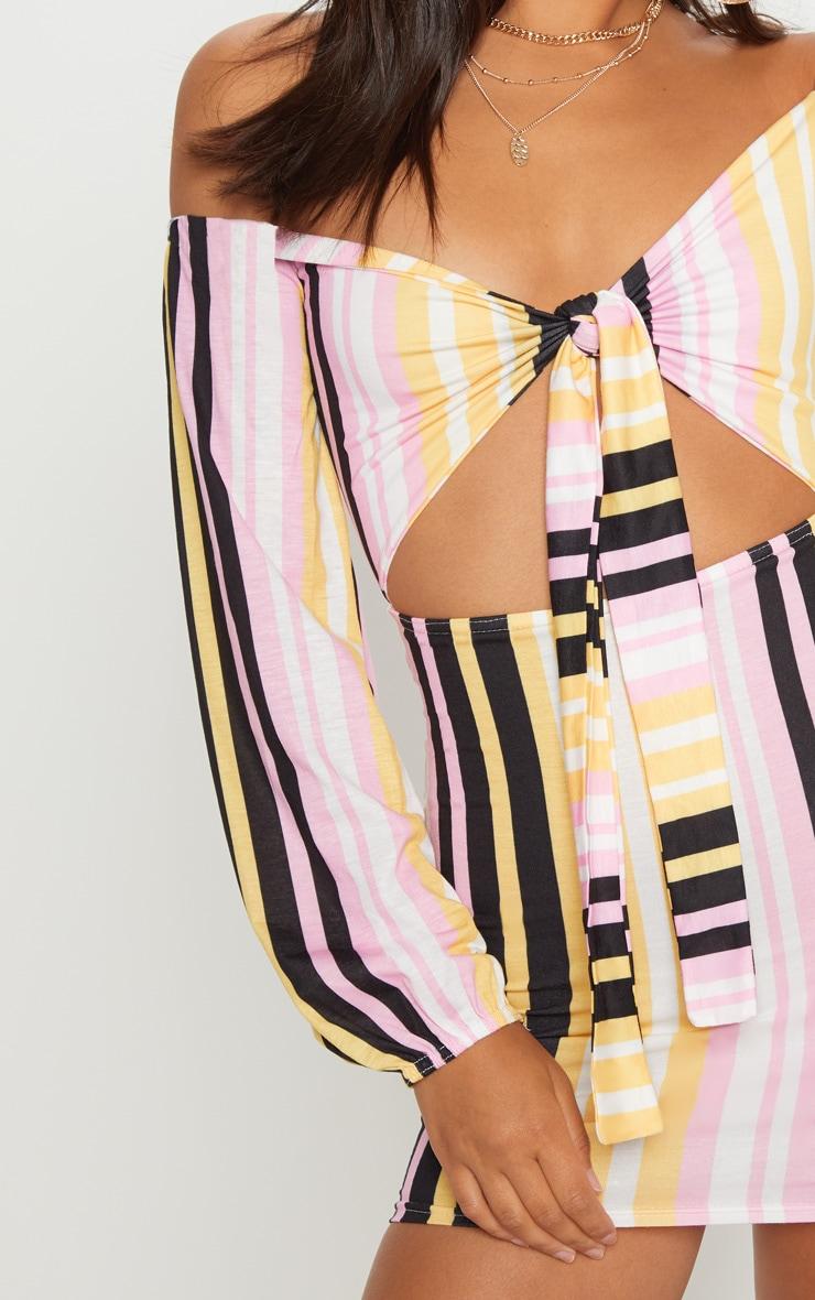 Multi Stripe Print Tie Front Bodycon Dress 5