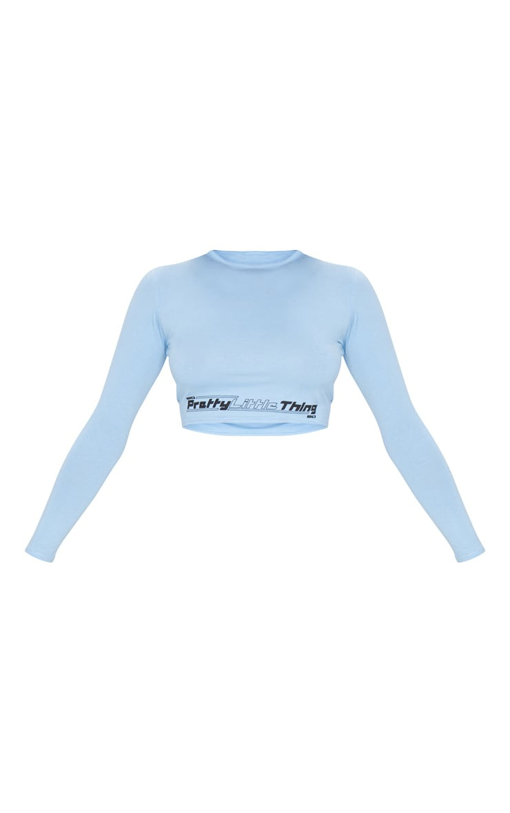 PRETTYLITTLETHING Petite Baby Blue Long Sleeve Crop Top 5