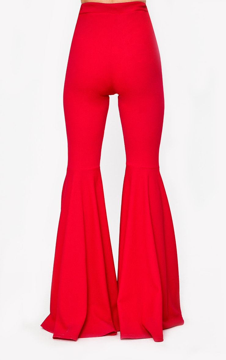 Red Extreme Flared Trousers 4