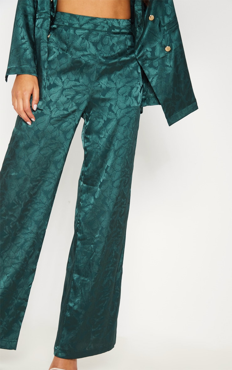 Emerald Green Floral Print Satin Pants  4