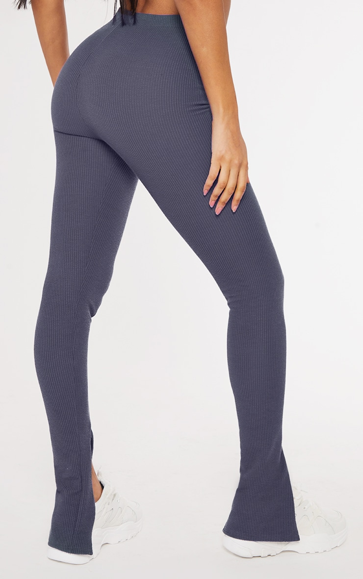 Petrol Blue Textured Rib Split Hem Skinny Pants 3