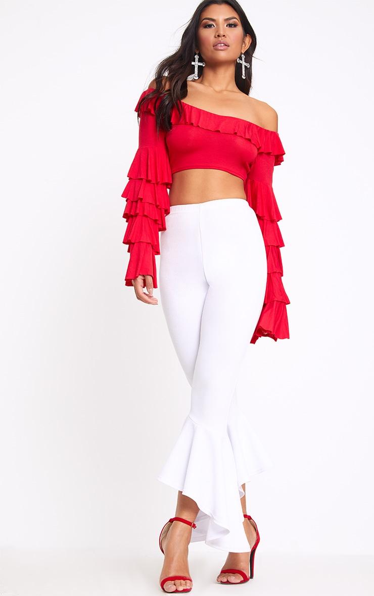 Red Bardot Frill Sleeve Crop Top  3