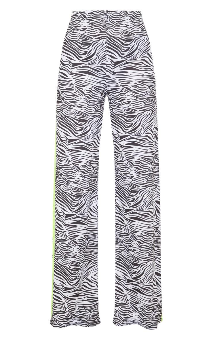 Zebra Printed Contrast Side Stripe Wide Leg Trouser 3