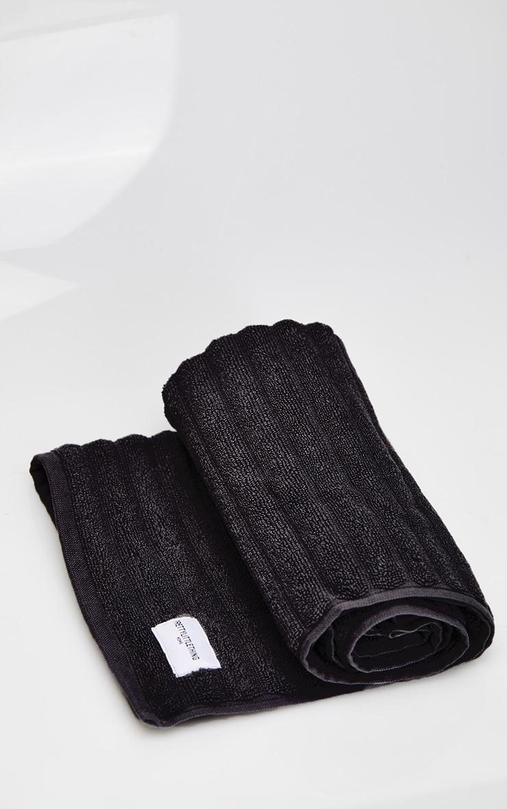 Black Textured Ribbed Bath Mat 3