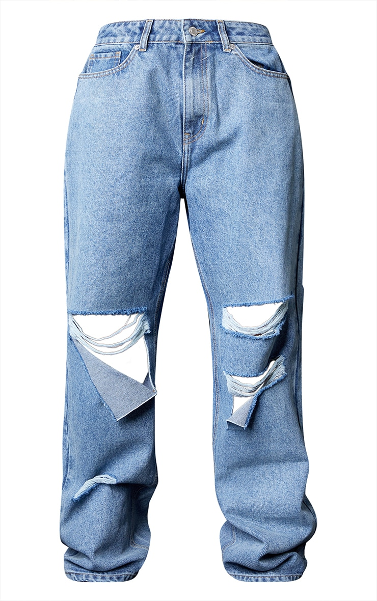 Mid Wash Baggy Low Rise Ripped Boyfriend Jeans 5