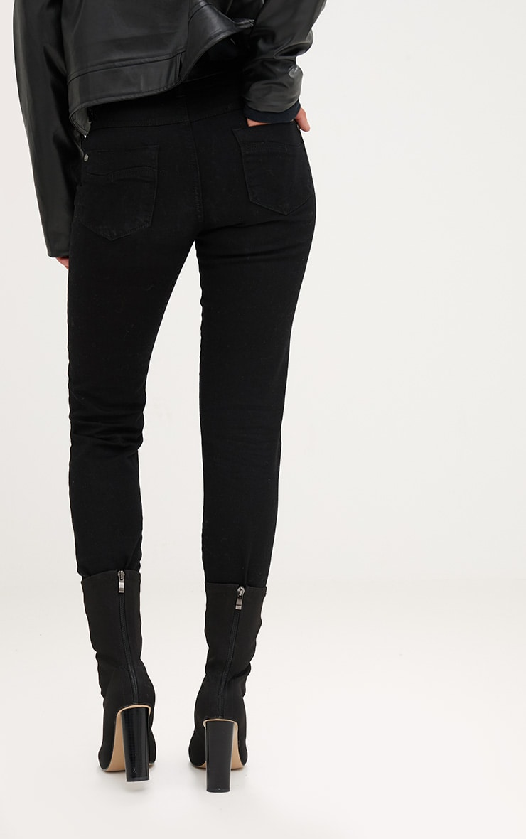 Black Frayed Hem Knee Rip Skinny Jean 4
