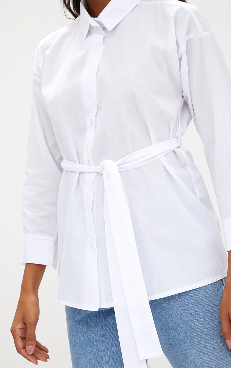 White Oversized Belted Shirt 5