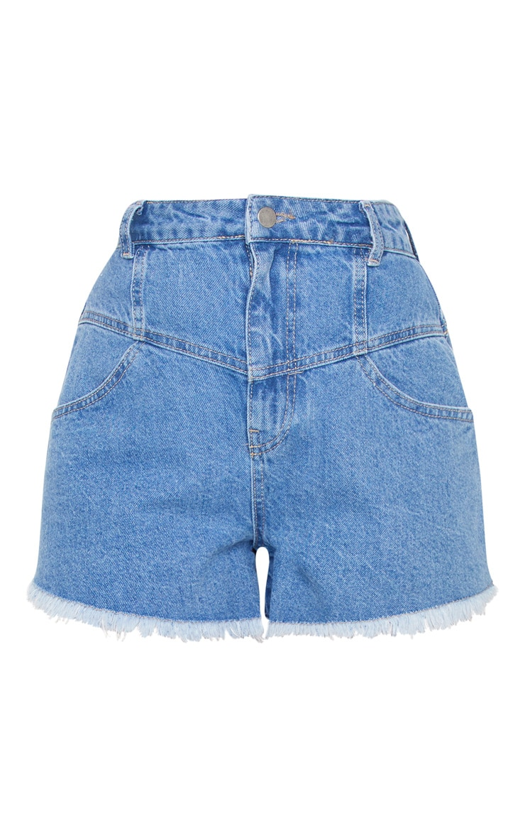 Mid Blue Wash High Waist Mom Fit Denim Shorts 6