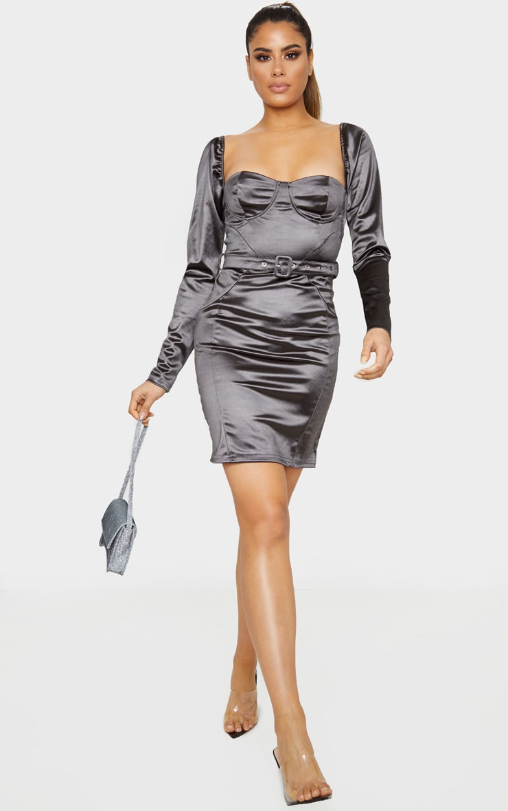 Tall Grey Long Sleeve Satin Cup Detail Belted Mini Dress 1