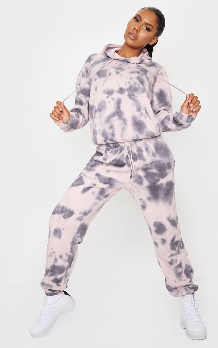 Light Pink Tie Dye High Waist Joggers 1