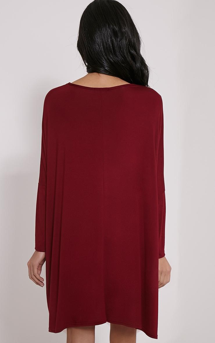 Basic Burgundy Long Sleeve Jersey Dress 2