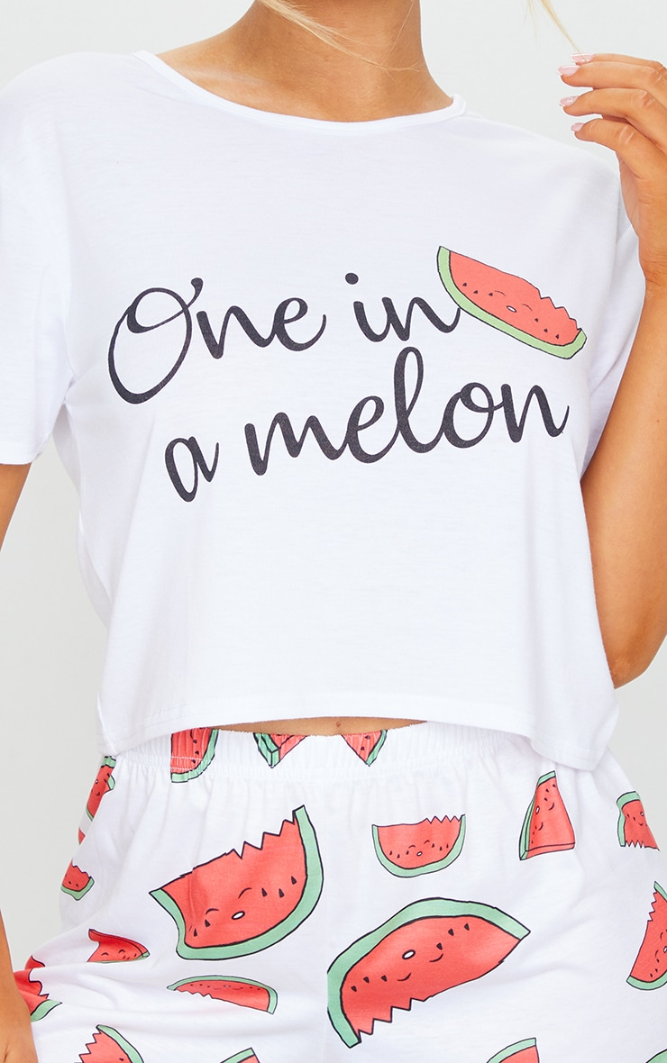 White One In A Melon Print Shorts PJ Set 4