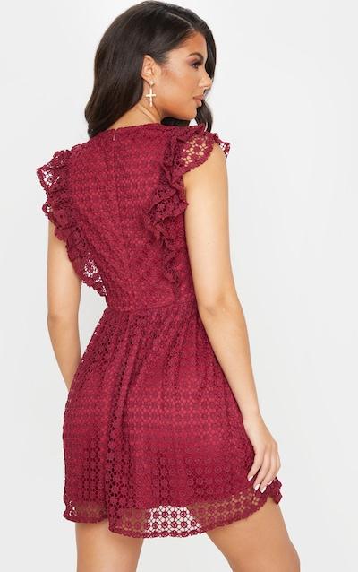 Burgundy Lace Frill Detail Skater Dress