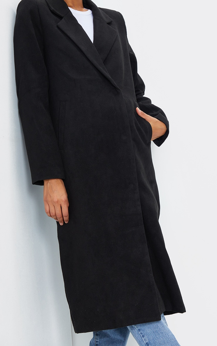 Salana Black Longline Double Breasted Coat 4