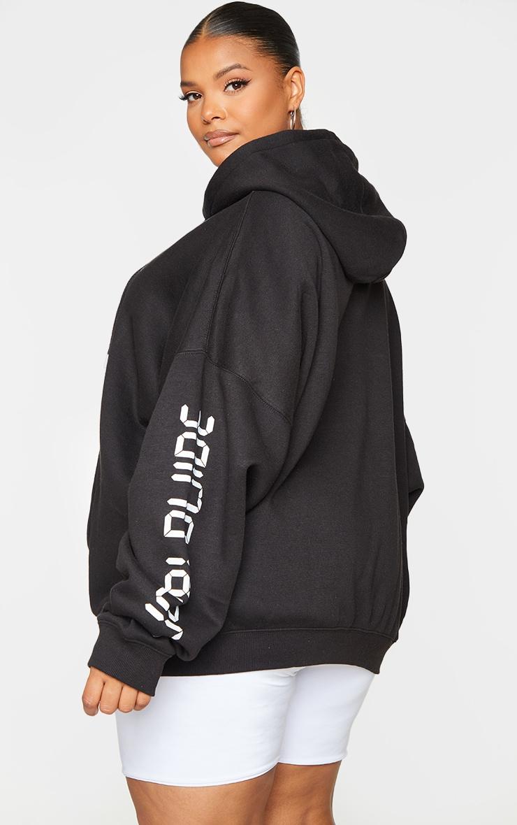 Plus Black Worldwide Oversized Slogan Hoodie 2