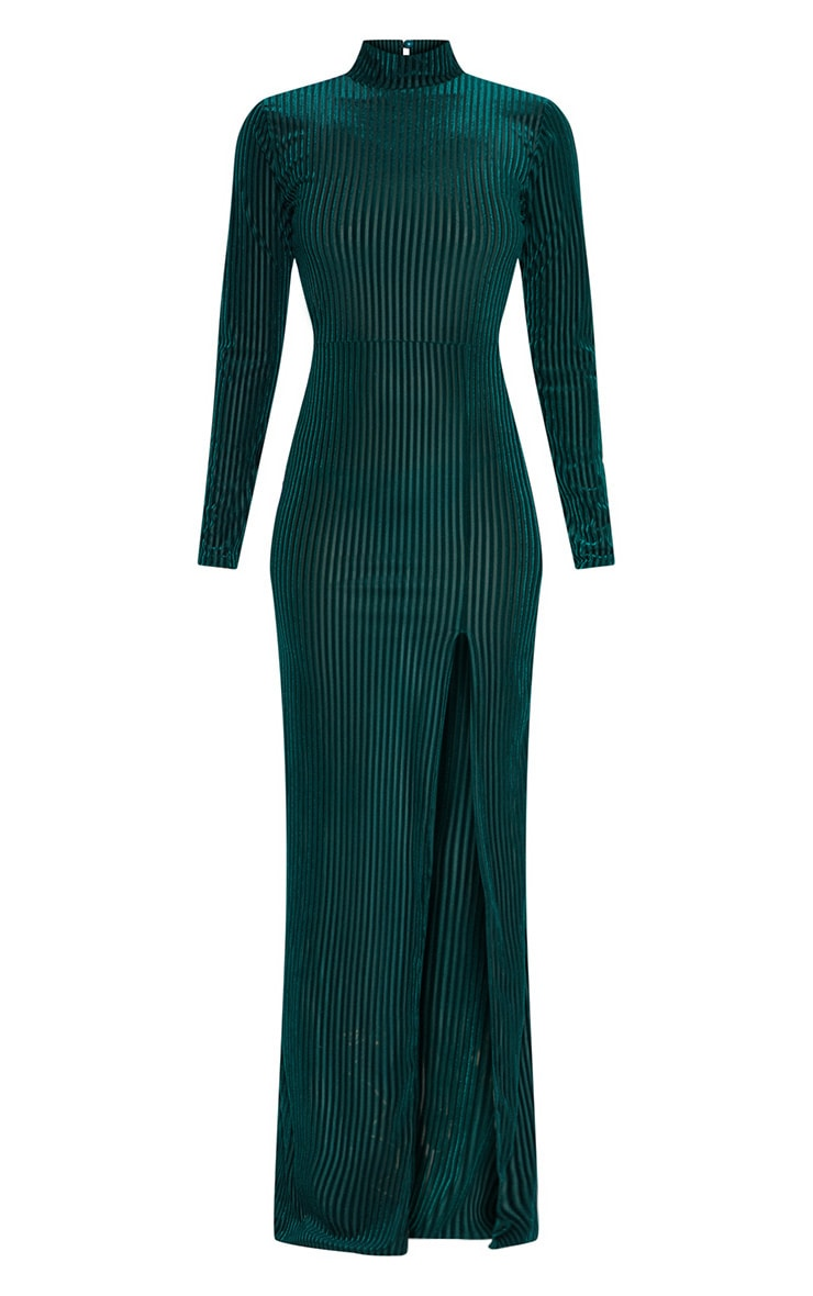 Emerald Green High Neck Long Sleeve Extreme Split Maxi Dress 3