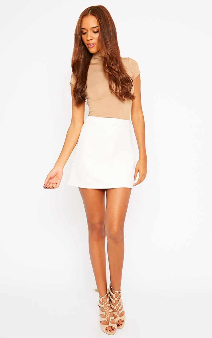 Rose Cream Faux Leather Mini Skirt  5