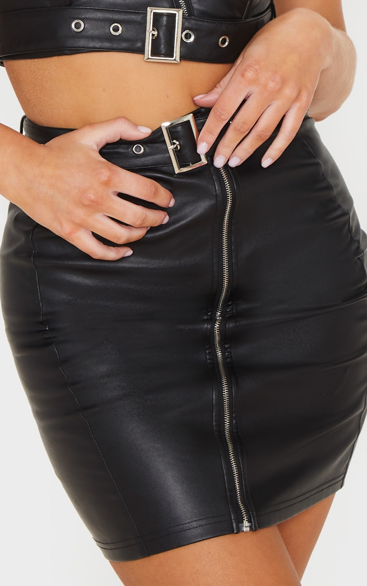 Black Pu Zip Up Belt Detail Mini Skirt 6
