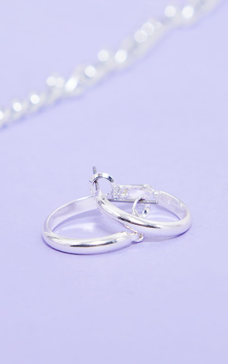 Silver Small Hoop Earrings 3
