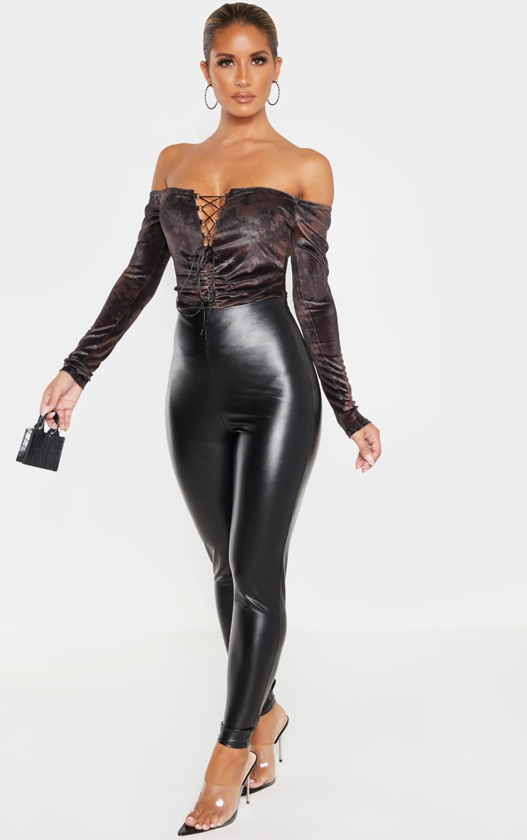 Khaki Velvet Tie Dye Lace up Ruched Bardot Bodysuit 4