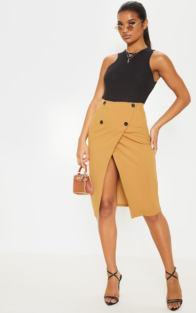 Taupe Woven Belt Detail Midi Skirt