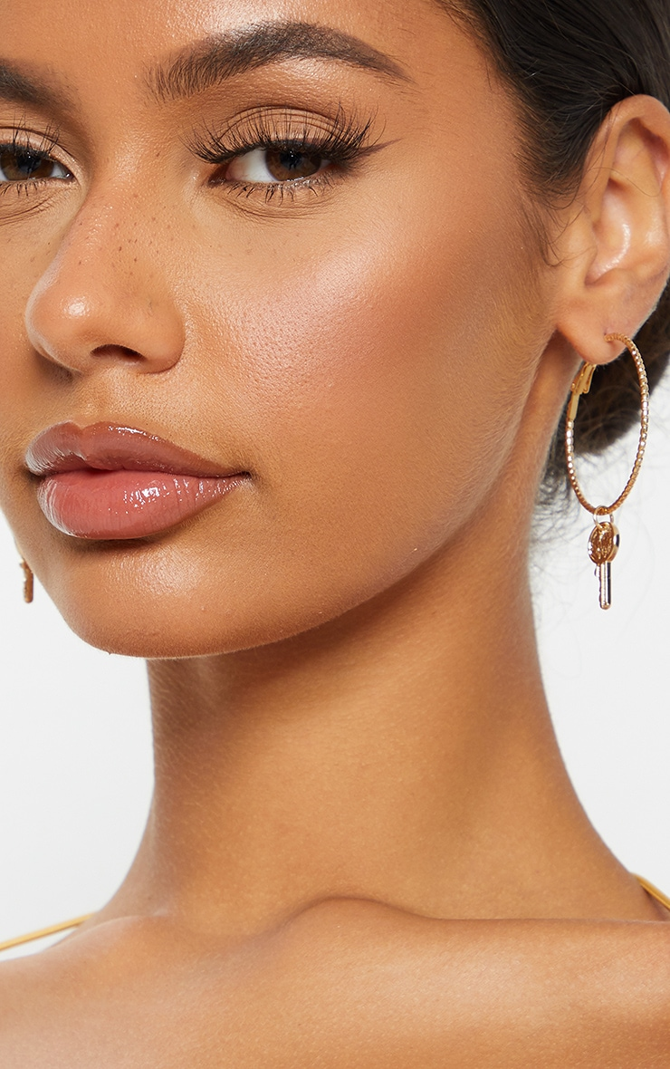 Gold Hoop With Key Statement Earrings 3