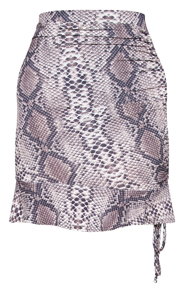Brown Slinky Snake Print Ruched Side Mini Skirt  3