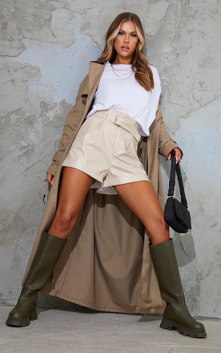 Stone Belted Faux Leather Turn Up Hem Shorts 1