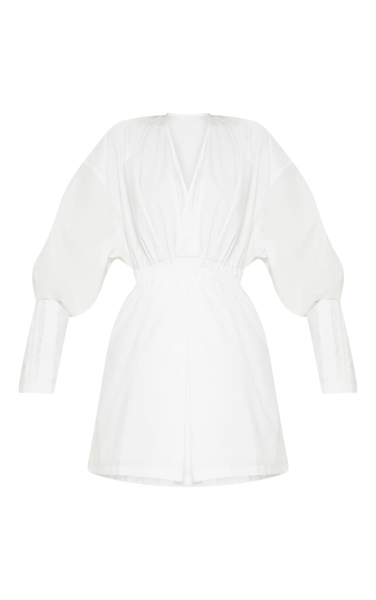 White Plunge Ruched Shirt Dress 3