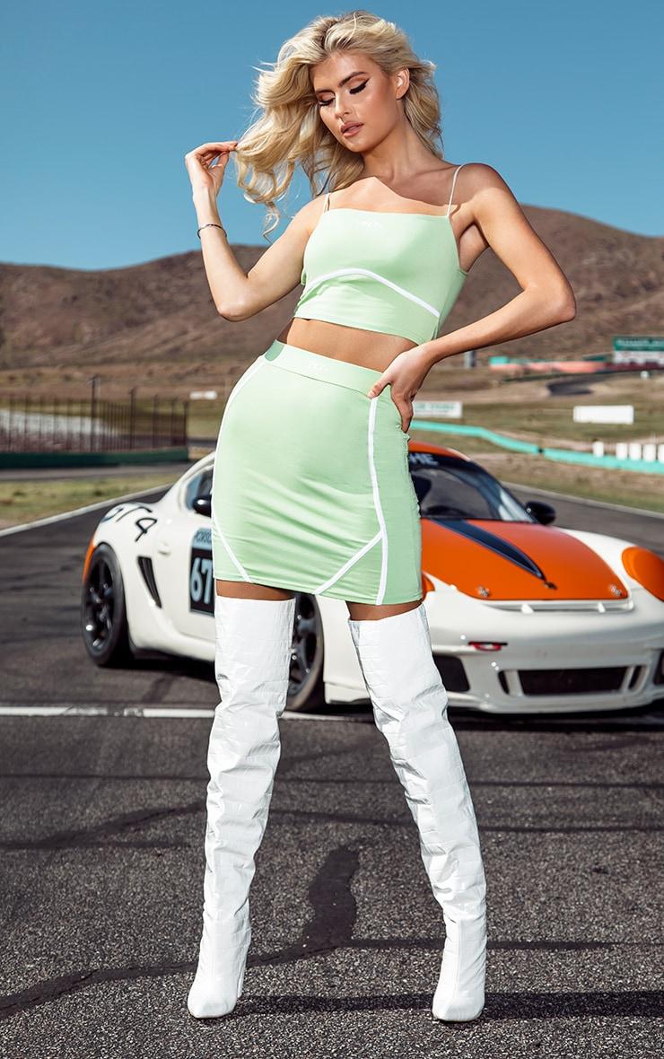 PRETTYLITTLETHING Tall Green Binding Detail Bodycon Skirt 1