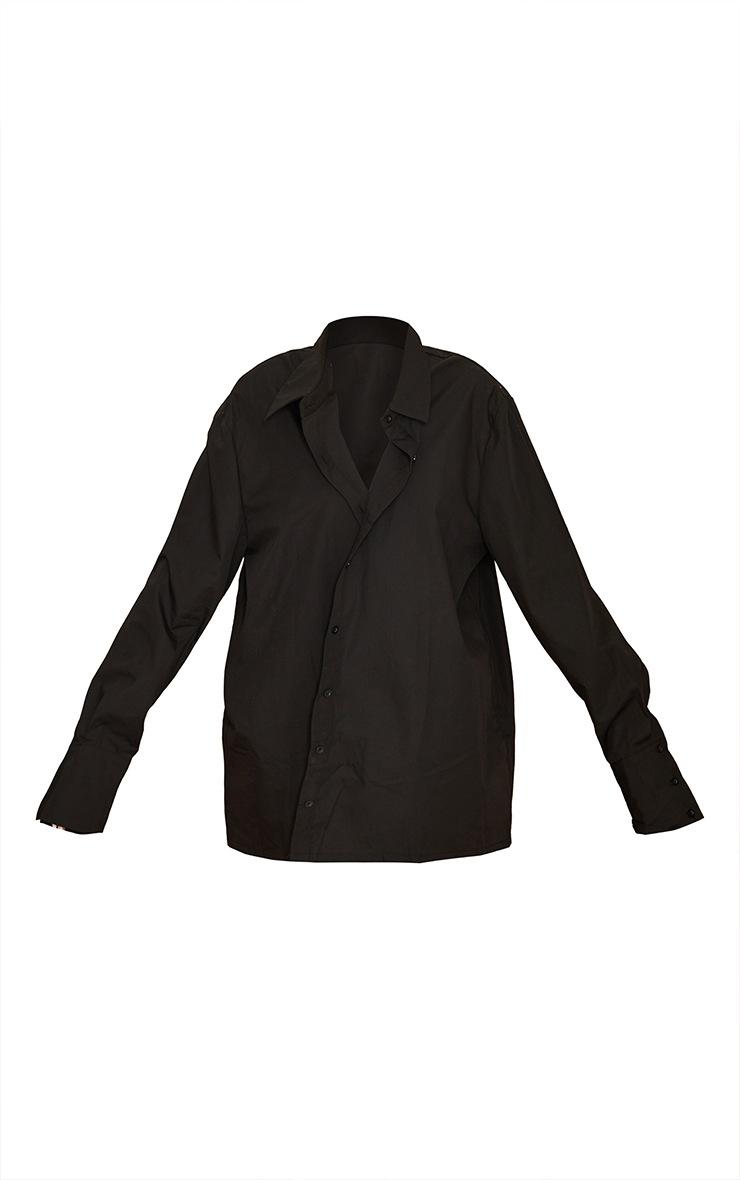Tall  Black Oversized Cuff Poplin Shirt 5