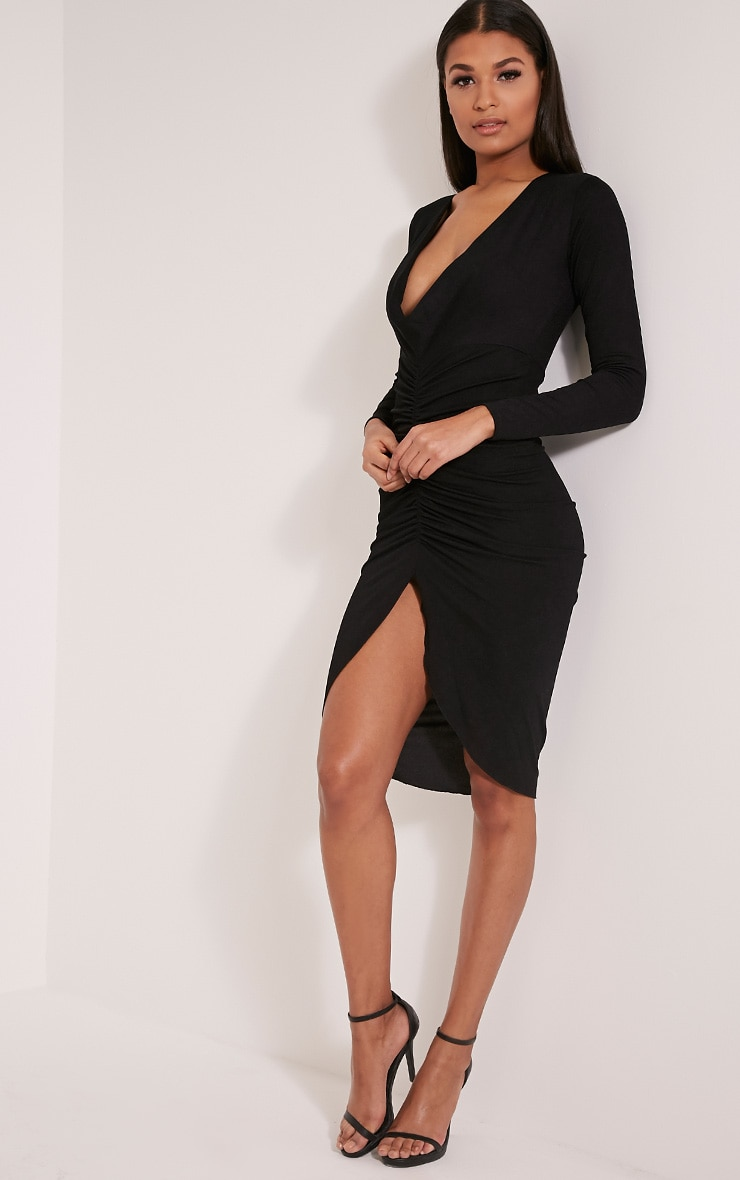 Zoey Black Ruched Midi Dress 1