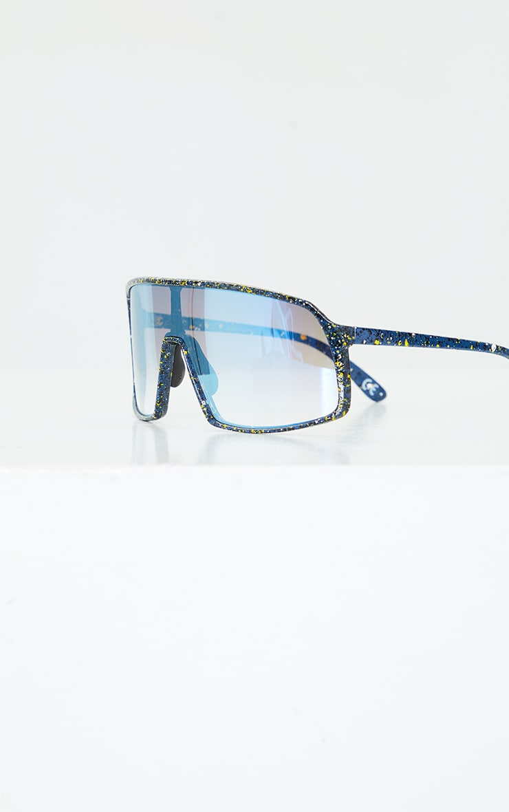Blue Paint Splat Revo Square Frame Sunglasses 3