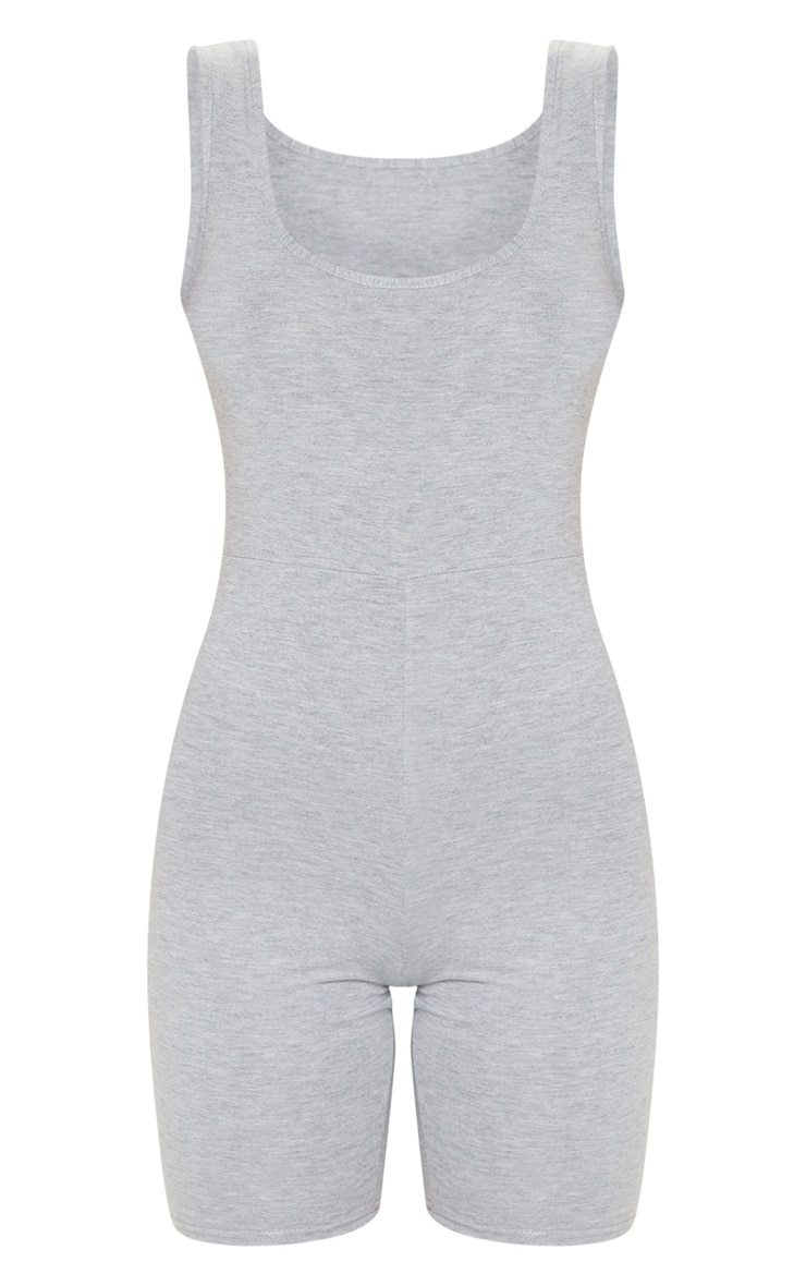 Grey Cotton Scoop Neck Unitard 5